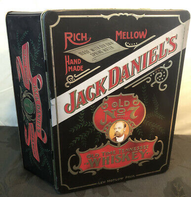 """Rare Vintage Jack Daniels OLD NO. 7 Hinged Tin Box Made in England 10 1/2"""" X 8"""""""