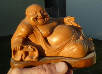 Beautiful Vintage Chinese Lounging Buddha Wooden Hand Carved