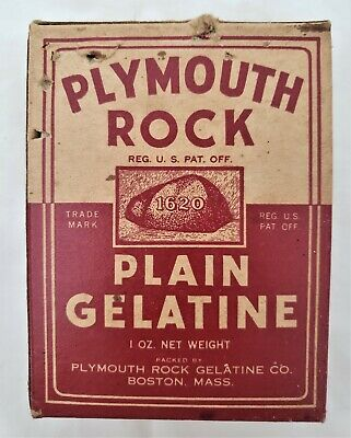 Vintage 1940s Plymouth Rock Plain Gelatine Box with Contents - Unopened 1.5 oz