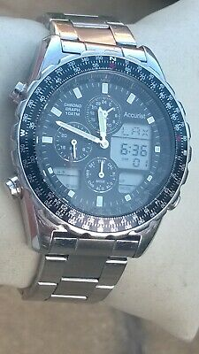 Accurist Mens Ana Digi LCD Digital Alarm Chrono World Time Watch MB775
