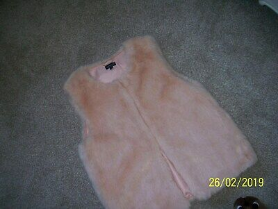 bnwt TOPSHOP BOXY FAUX FUR GILLET IN BABY DUSKY NUDE BLUSH PINK UK 12