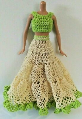 2-Pc Barbie Dress Lime Green Cream Crop Top Doily Skirt Prom Formal Party OOAK