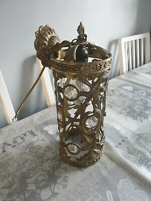 Antique Cylindrical Chandelier Brass and Crystal