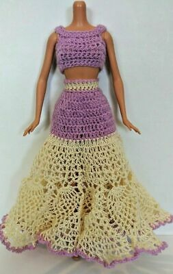 2-Pc Barbie Dress Lilac Cream Purple Crop Top Doily Skirt Prom Formal Party OOAK