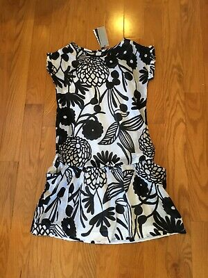 NWT Little Couture Girls Size 14 Black & White Print Thin Cotton Very Soft Dress