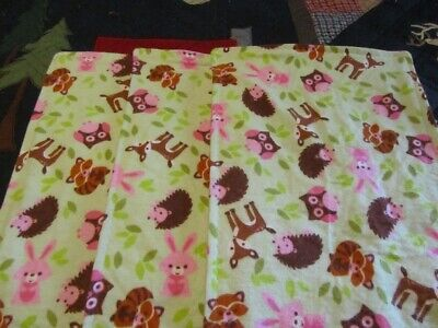 Set of Three Green Girl Woodland Animal Double-sided Flannel Burp Cloths