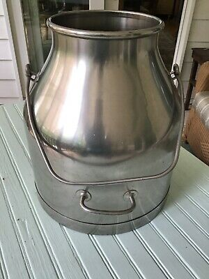 """Vintage De Laval Stainless Steel Dairy Milk Can Pail Bucket 14"""" tall"""