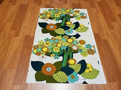 Awesome RARE Vintage Mid Century retro 70s 5th Avenue tree flower fabric! LOOK