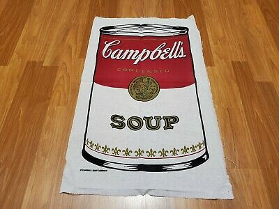 Awesome RARE Vintage Mid Century retro 70s Campbell's Soup pop art fabric! LOOK!