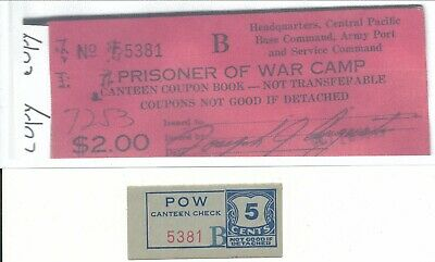 USA WWII POW Camp Chits HI-1-1-5 Central Pacific HI 5 Cent Prisoner of War
