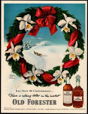 1951 OLD FORESTER Whiskey - Alcohol - Christmas Holiday Wreath VINTAGE AD