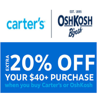 ✔ ✔✔ CARTER'S / OSHKOSH 2 Coupons Codes 20% off $40+ 15% Off $20  >Fast Delivery