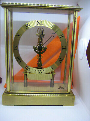 "Heavy Emes skeleton ""see through"" mantel Clock from Germany, brass & acrylic"