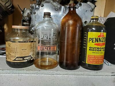 Vintage Delco Brake Motor Oil Glass Can Bottle Ww2 Ww11 Collectibl 1940'S Rare!!