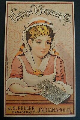 Trade Card UNION OYSTER CO. BALTIMORE MD, PRETTY YOUNG LADY