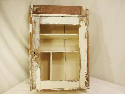Antique Vtg Wood Medicine Cabinet Glass Door Wall Mount Pharmacy Distressed