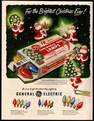 1951 GENERAL ELECTRIC Christmas Tree Lamps - SANTA CLAUS - Holiday VINTAGE AD