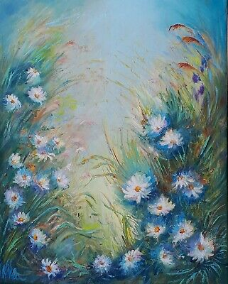Original Abstract Oil Art Floral Field With Daisies