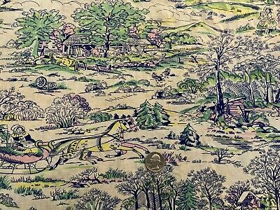 Vintage FULL FEEDSACK Quilt Fabric Country Scenes Green Blue Pink Horse Carriage