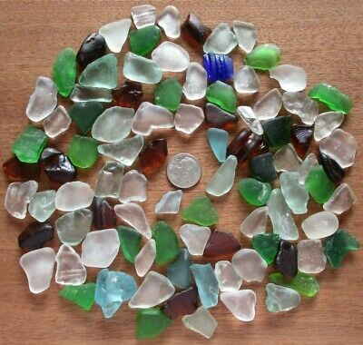 genuine surf tumbled beach sea glass 92 pieces mixed quality and colors Hawaii