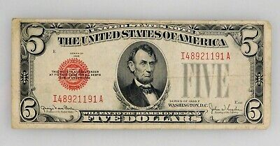 1928 F - $5 Five Dollar Red Seal Note - United States Currency