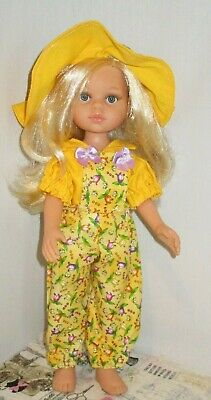Darling Little Paola Reina Doll OUTFIT ONLY No Doll Yellow Bib Overalls Hat
