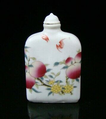 Collectible 100% Handmade Painting Porcelain Snuff Bottle peach 19
