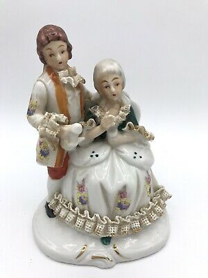 "Vintage Porcelain Victorian Couple Lady Sitting 5.5"" Tall Figurine Ruffles"
