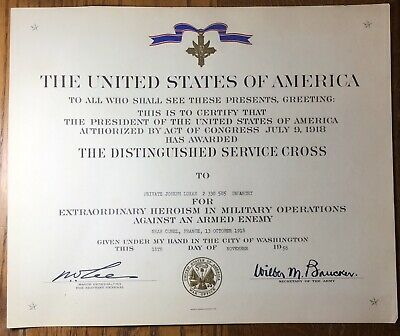 United States Of America The Distinguished Service Cross Oct 13, 1918