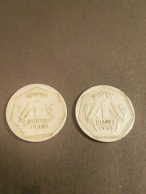 2x Old India 1 Rupee Coin 1- 1983 2- 1985  Lot Of 2 Coins
