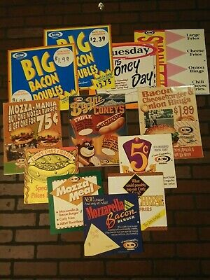 A&W Root Beer advertising sign lot of 12 drive in restaurant 1990s soda 75th