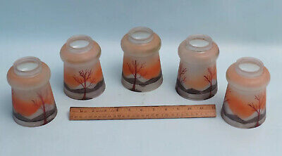 """ANTIQUE Set of 5 SCENIC HAND PAINTED GLASS LAMP SHADE 2 1/8"""" FITTER"""
