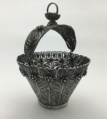 Fine 19th C Antique Chinese? Sterling Silver Filigree Basket Candy Bowl 327 Gr!