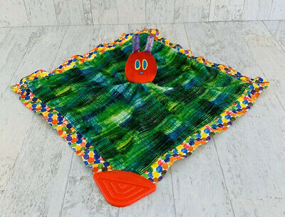 """Eric Carle 14"""" X 14"""" Very Hungry Caterpillar Baby Lovey Security Blanket Teether"""