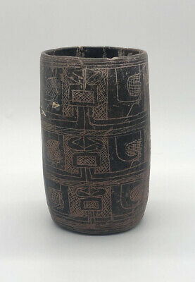 Pre-Columbian Mayan Incised Cylinder Pottery Vase