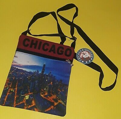 Chicago Souvenir~Zippered Neck Wallet Sack~Brand New W/ Tags~Shows Trump Towers