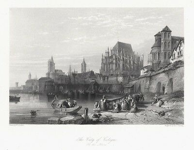 "Köln - ""The City of Cologne"". Originaler Stahlstich um 1850"