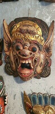 Large Hand Painted Wooden Balinese Mask
