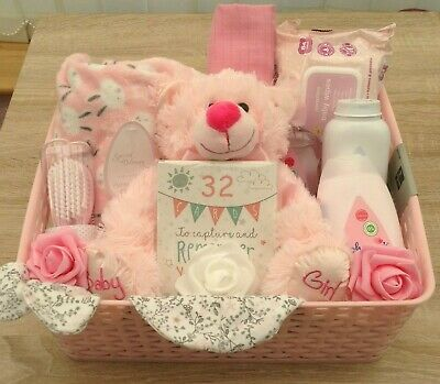 Lovely Large Baby Girl Basket Hamper, Gift Set, Baby Shower, Maternity Leave, We
