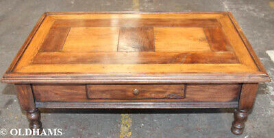 Superb Antique French Coffee Table - Single Drawer - Solid Oak