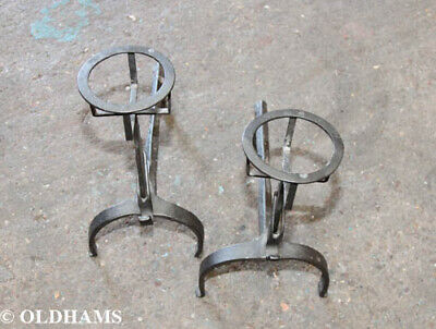 Pair of 19th Century Cast Iron French Andirons / Fire Dogs