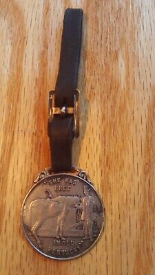 """Antique Round 1906 """"Green River Whiskey"""" Advertising Watch Fob Owensboro, Ky"""