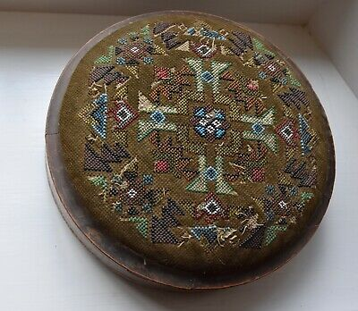 Victorian Style Beaded Marquetry Inlay Foot Stool - Wooden Feet
