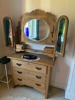 antique solid pine dressing table with 3 drawers and mirrors