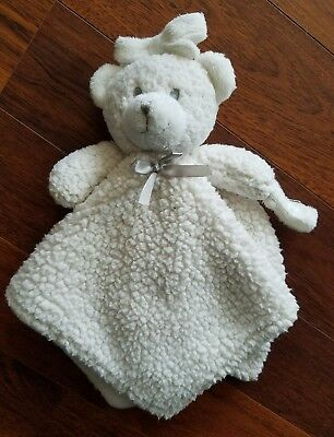 Blankets & Beyond White Bear Sherpa Fur Lovey Security Blanket Gray Bow Toy