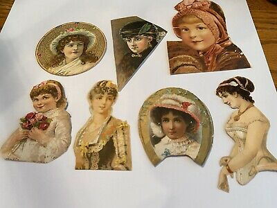 Vintage Victorian Scrap Trade Card Die Cut Outs Lot