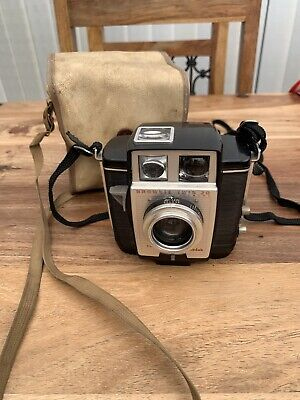 Kodak Brownie Twin 20 Camera Vintage With White Leather Case
