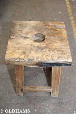 Antique Elm Rustic Cracket Style Stool - 63cm High