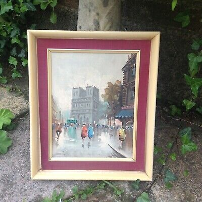 A Vintage / Retro French 1960s oil painting picture of a Parisian scene.