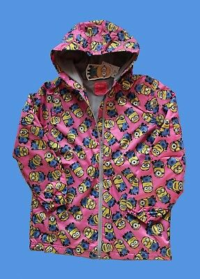 Next Pink Minion Hood Water Resistant Raincoat Cagoule/Jacket - Size: 13 Years